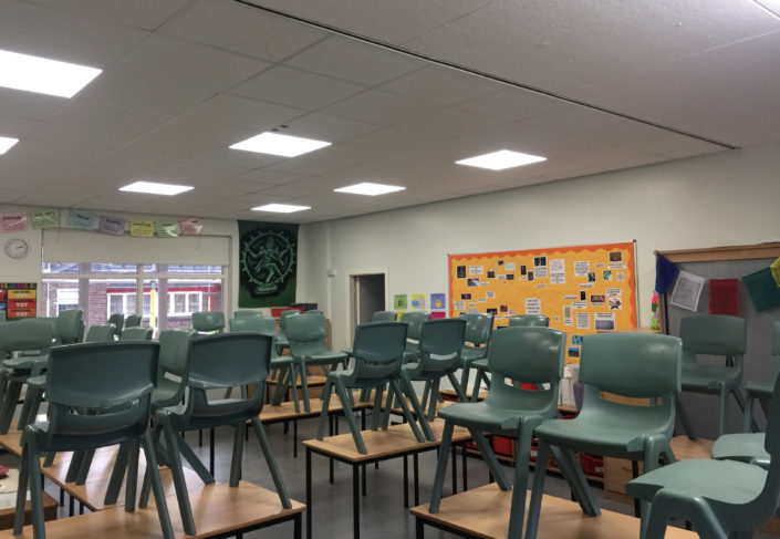 A bright and breezy classroom lighting installation for Formby High School in Liverpool.