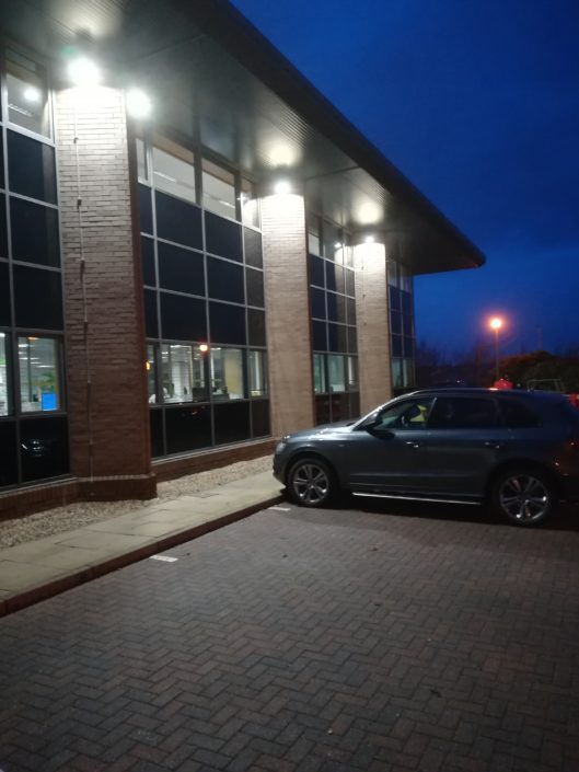 Exterior LED lighting installation for car parking at Cala Homes Head Office in Edinburgh, Scotland.