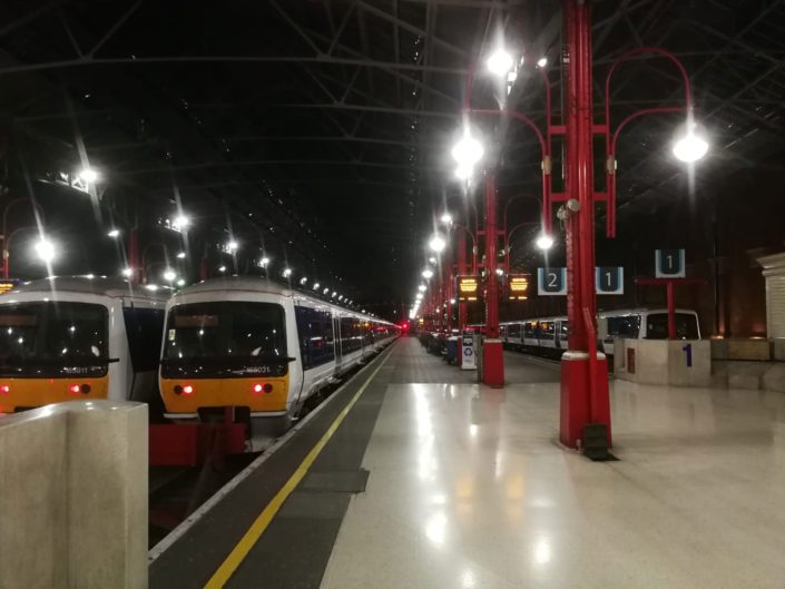 Energy efficient LED lighting installation to platforms at Marylebone Station, London.