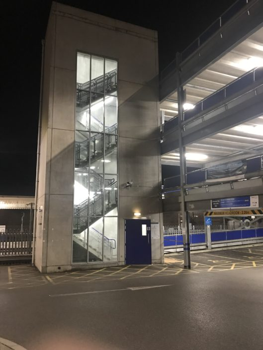 LED lighting installation throughout a multi-storey car park in High Wycombe, Buckinghamshire.