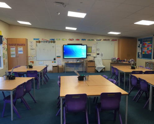 New LED panel lighting installation in a classroom at Quinta Primary School, Congleton, Cheshire.