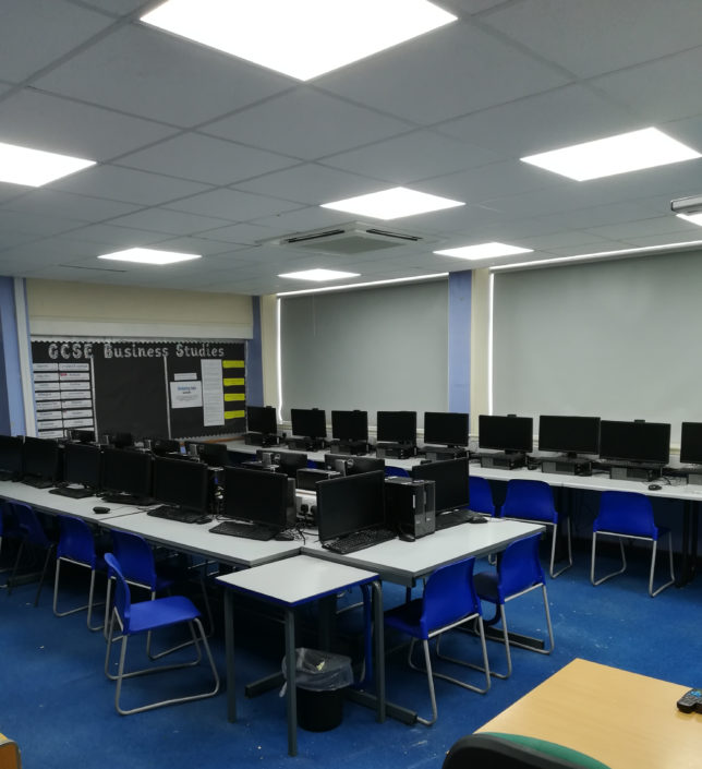 LED replacement lighting installation to computer classroom at Lostock Hall Academy, Lancashire.