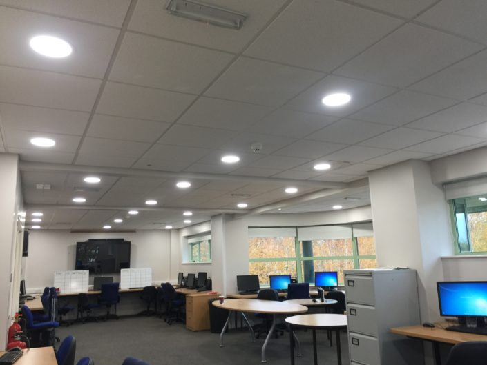 Smart LED downlights lighting installation fitted to computer room at Formby High School, Liverpool.