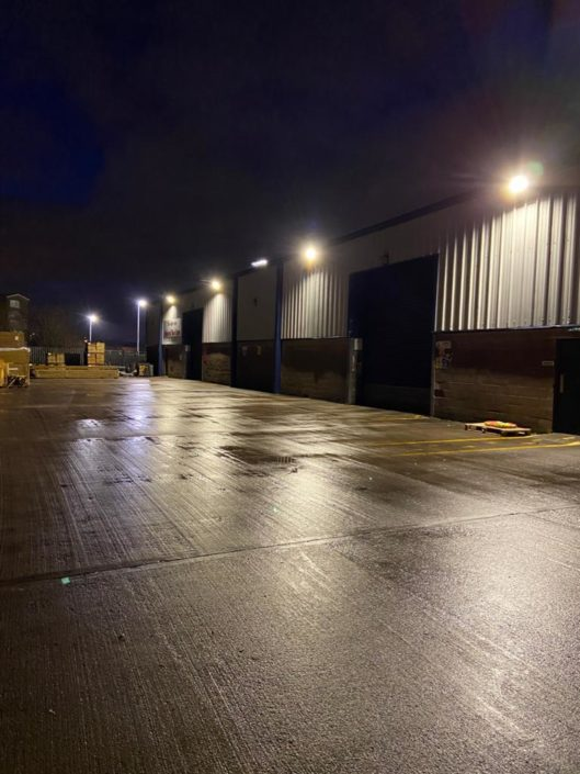 Loading bay LED floodlights lighting installation for Thornbridge in Motherwell, near Glasgow.