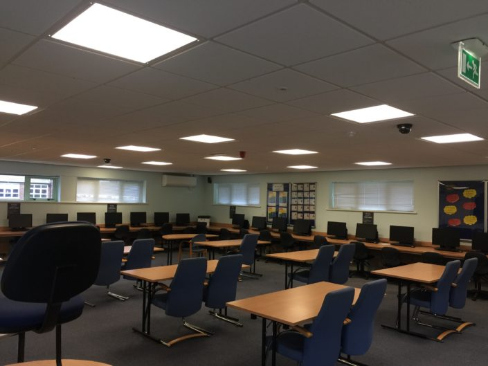 Panel LED lighting installation to a library study room at Formby High School, Liverpool, Merseyside.