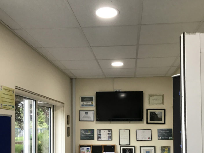 Replacement brighter office lighting installation for Quinta Primary School, Congleton, Lancashire.