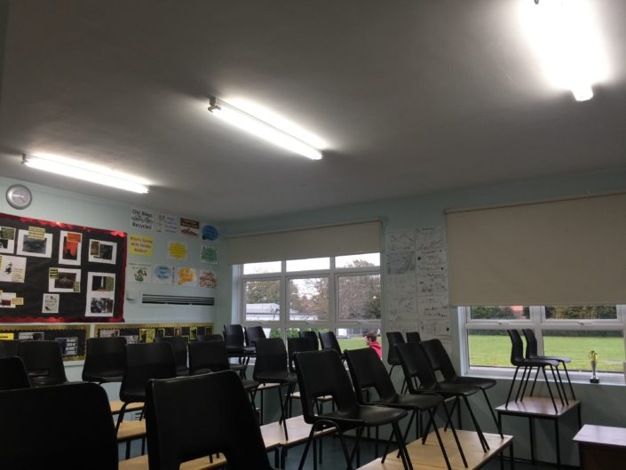 Tube LED lighting installation to a classroom in Formby High School, Liverpool in the North West.
