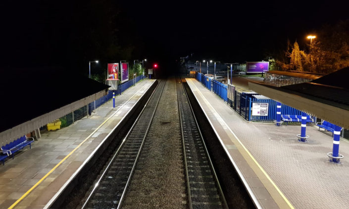 Bright LED lighting installation at Sudbury train station, Suffolk, near the Essex border.
