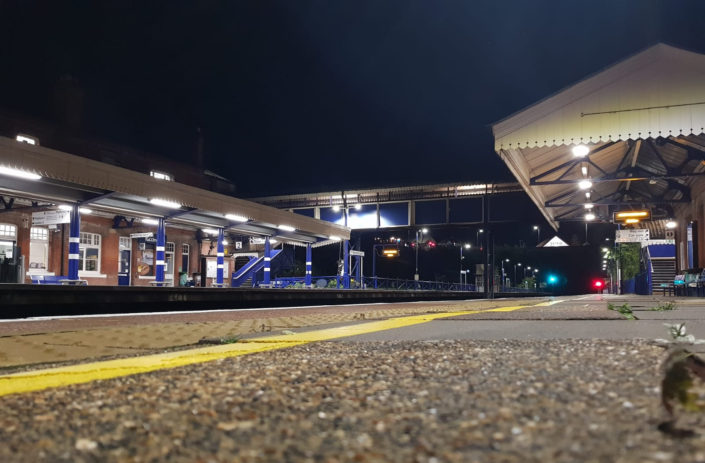 Bright exterior lighting installation for platforms at Gerrards Cross, Buckinghamshire.