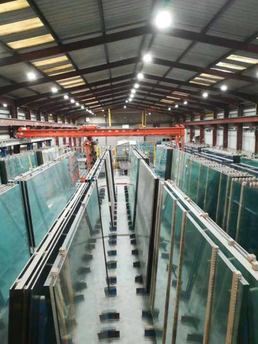 Glass processing factory benefits from new LED lighting installation in Bradford.