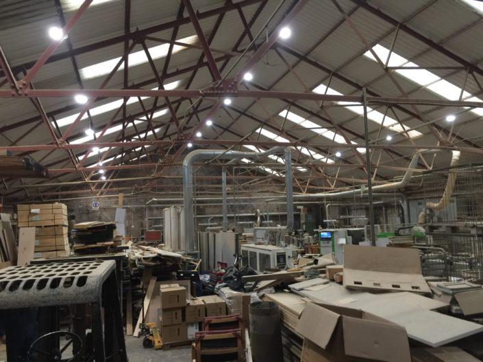 LED lighting installation creates brighter workshop for Pendle Wood Craft in Darwen, Lancashire.