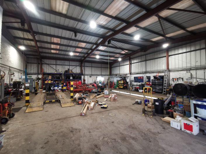 LED high bays create well-lit workshop for H Gittings Transport Ltd in Bromsgrove, near Birmingham.
