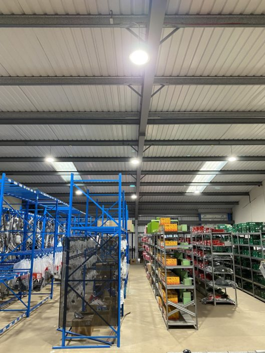 Replacement stockroom lighting installation for Bennetts Car Parts in Shrewsbury, West Midlands.