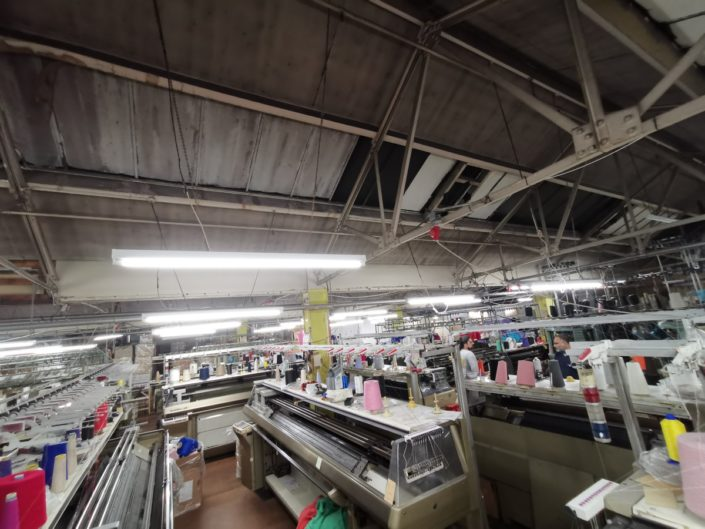 LED factory lighting installation offers significant savings for ABY Knitwear, Manchester.