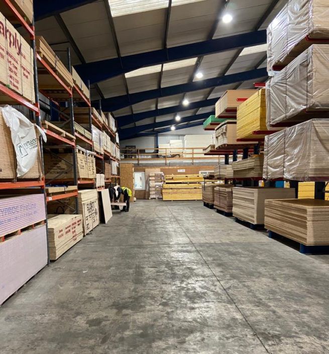 Warehouse LED lighting installation provides carbon savings for Thornbridge Motherwell, North Lanarkshire.