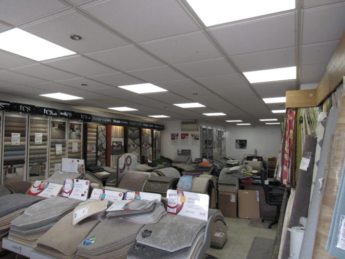 New LED lighting helps with colour selection at Harper and Pye carpet shop in Blackpool, Lancashire.