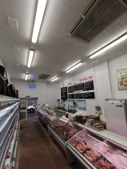 Lighting installation shows hygiene and cleanliness at LDA Meats, wholesale butchers in Herefordshire.