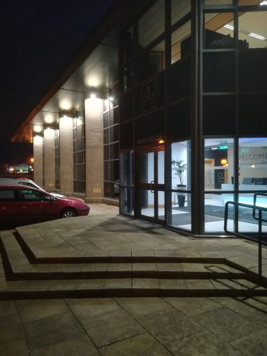 Exterior LED lighting installation for the car park at Cala Homes commercial offices in Edinburgh.