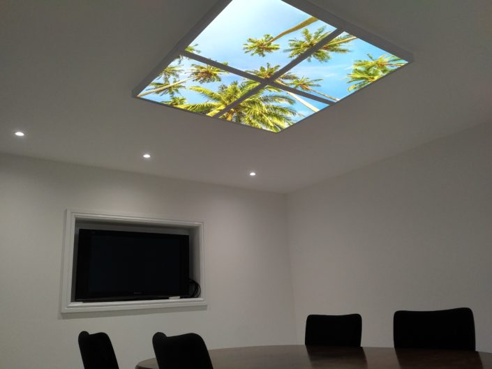 An example of an LED lit sky ceiling at the Airis headquarters in Poulton, near Blackpool, Lancashire.