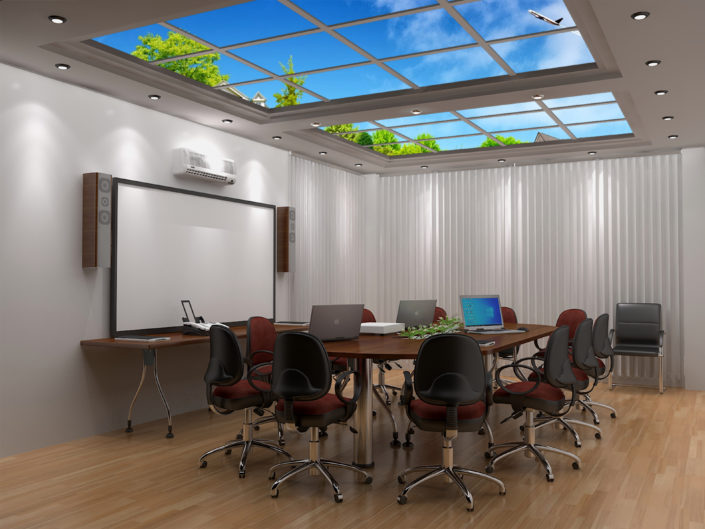 Innovative sky panels using LED lighting can enliven office meeting rooms without natural light.