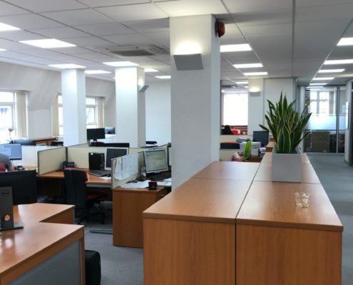 Open plan commercial office led lighting installation for Haines Watts, a solicitors in Liverpool.