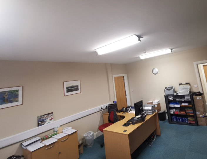 Tube LED lighting installation to commercial offices at Farries, Kirk & McVean in Lockerbie, Scotland.