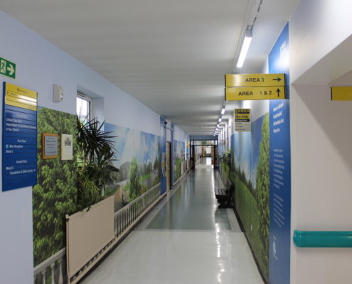 New LED lighting installation to the main corridor at Blackpool Victoria Hospital, Lancashire.