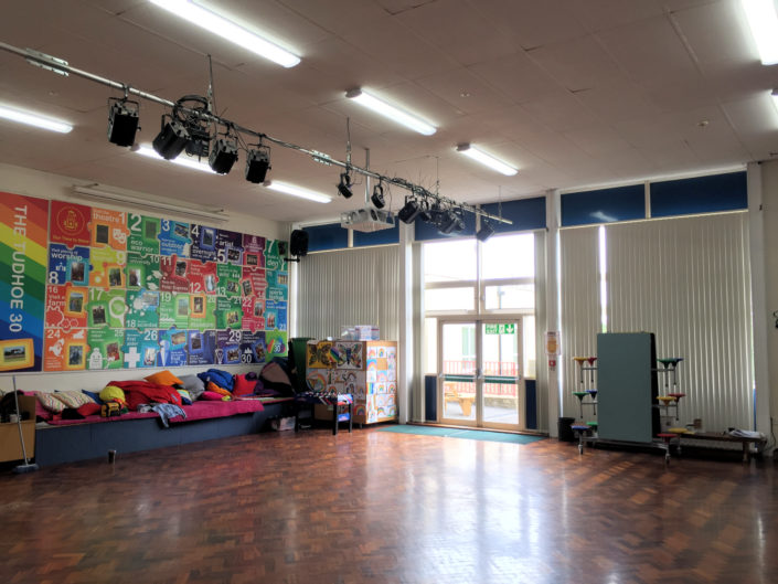 The assembly hall at Tudhoe Colliery Primary School in Spennymoor with energy saving LED tube lighting.