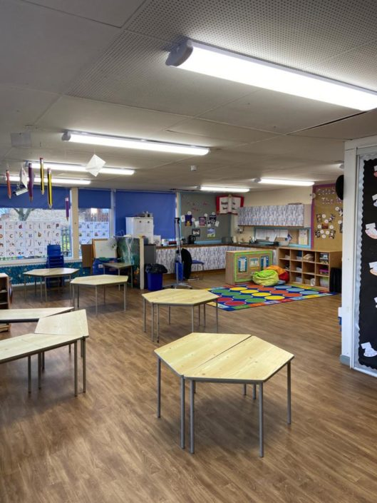 Classroom LED lighting tube installation at Stephenson Way Academy in Newton Aycliffe.