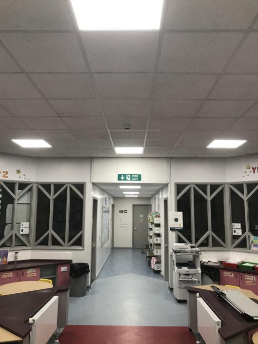 New LED panels brighten up the communal area at Dene House Primary School in Peterlee, County Durham.