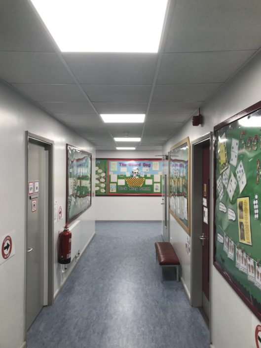 Real difference in corridors with LED lighting at Dene House Primary School, Peterlee in County Durham.