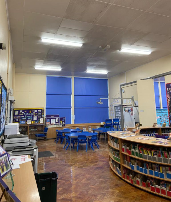 North East academy and nursery school, Stephenson Way library benefits from new LED lighting.