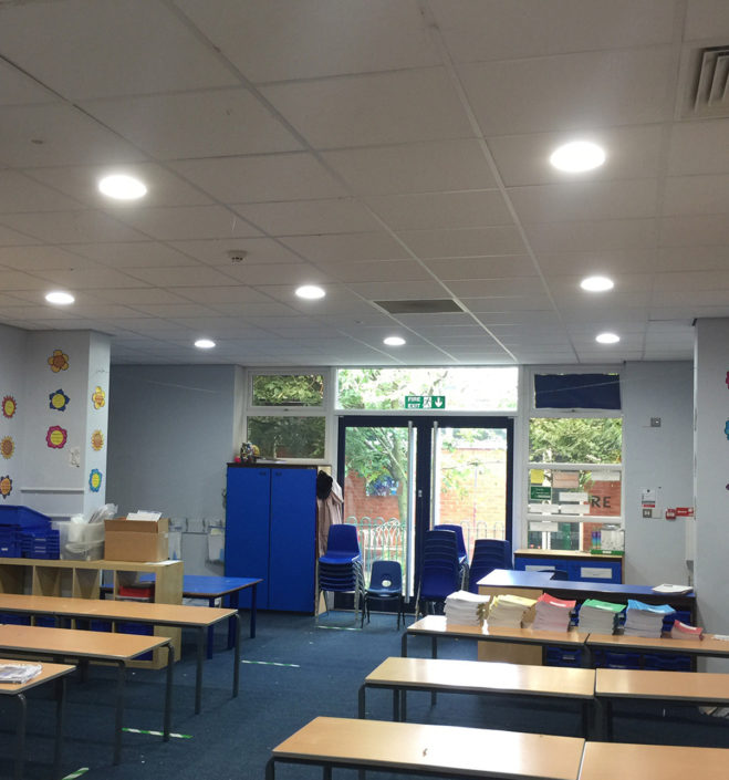 LED down lights reduce CO2 emissions in one of many classrooms across six schools for the Tudhoe Trust.