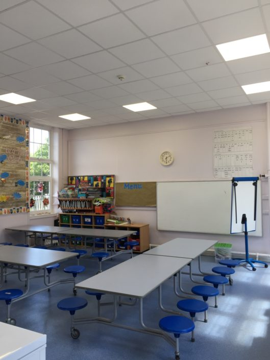 Installation of LED panels improved the dining hall at Victoria Lane Academy, Bishpop Auckland.