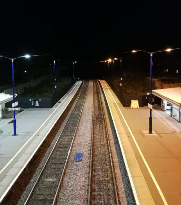 Great photo of a station contrasting an led street lighting installation before and after.
