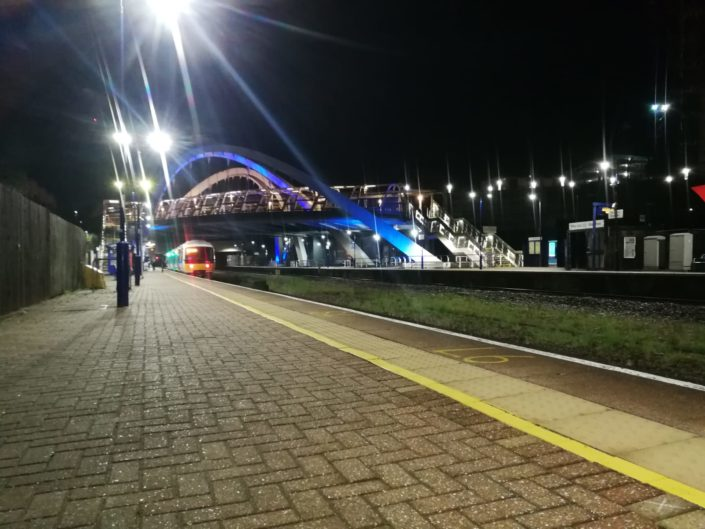 Bright LED platform street lighting offers a safer night time environment for passengers.