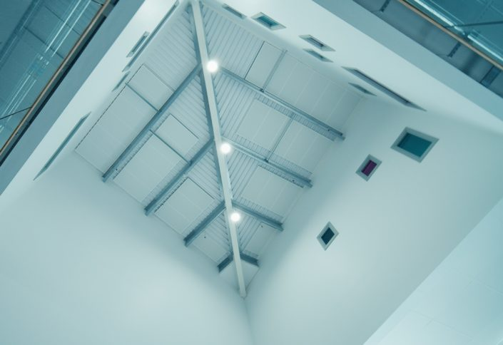 Well lit school atrium with all new LED lighting installation in the North West of England.